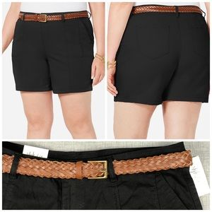 16W 20W 24W Style & Co Black Belted Shorts Plus